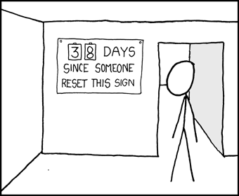 xkcd comic: 38 days since someone reset this sign.