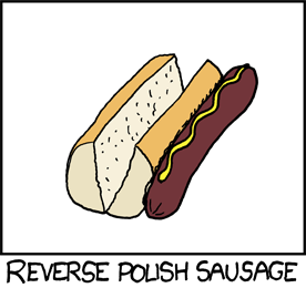 "xkcd 645: a hot dog sitting next to a hot dog bun, captioned ""Reverse Polish Sausage""."