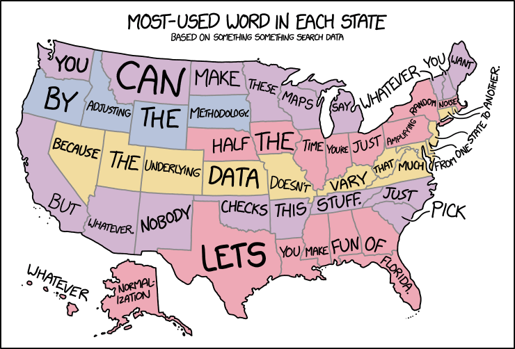 Xkcd State Word Map - Us states make data map