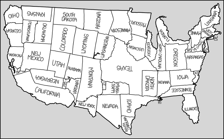 Xkcd United States Map - Map of united states without names