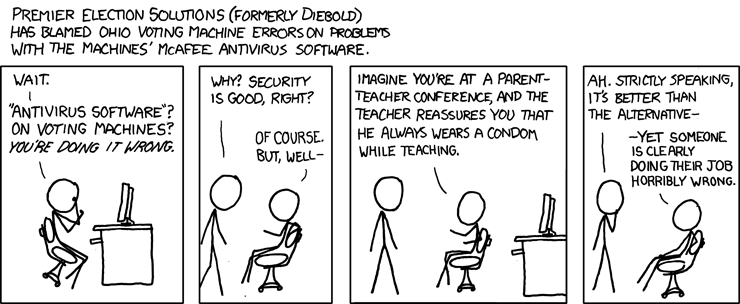 An Xkcd webcomic on how vulnerable electronic voting machines are.